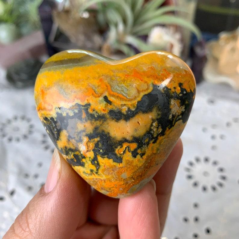 Bumblebee Jasper Heart Carving // Increases Self Esteem Earth image 0