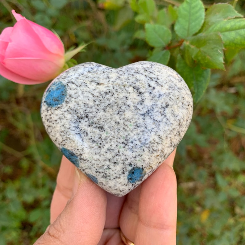 K2 Stone Heart Raindrop Azurite Heart Carving Fully image 0