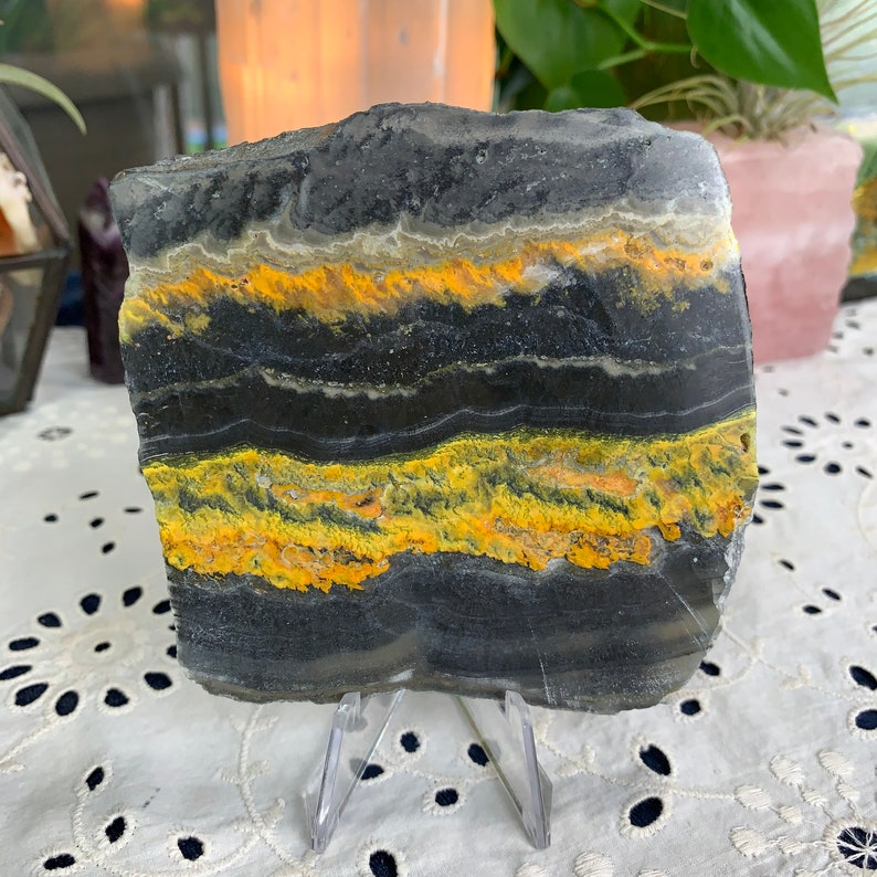 Bumblebee Jasper Slab Display With Stand Included // Increases image 0