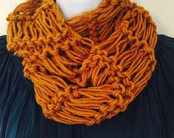Knit Infinity scarf, cowl, scarflette, neckwarmer, Ready to Ship