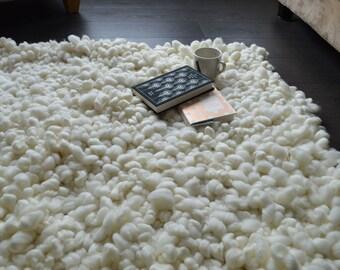 Fluffy rug - Merino Wool Area Rugs - Hand Knotted Carpet - Dining Room Rug - Floor Rug