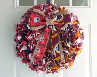 House Divided Football Or Baseball Team Rag Wreath Family Spirit Fan Door Decor