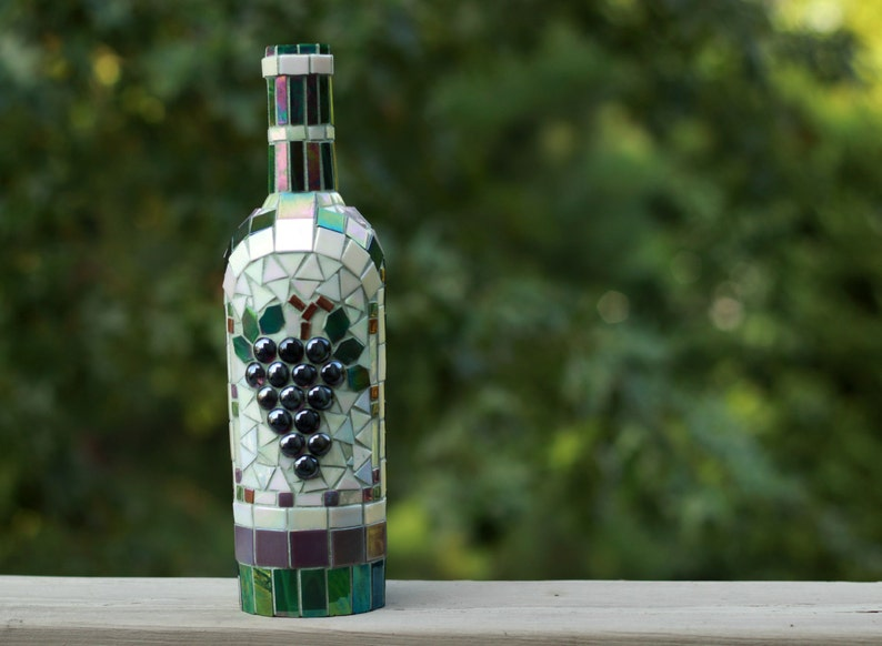 Mosaic Grapes Wine Bottle Wine Decor Glass Art Wine Bottle Etsy