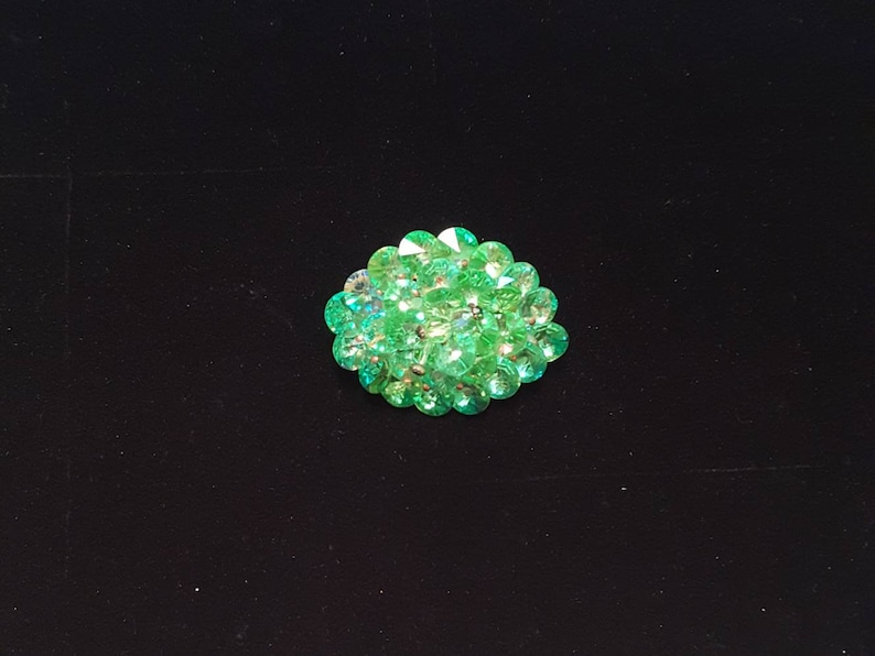 unusual unique gift Vintage lime green rivoli crystal beaded brooch pin wedding bridal antique jewelry