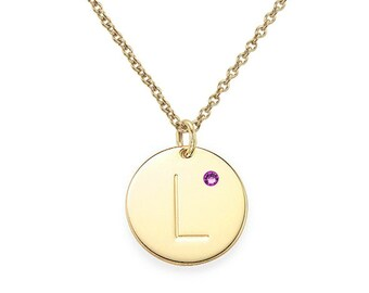 Personalized initial Circle Disc Pendant Necklace in 18k Yellow Gold Plated 925 Sterling Silver With Birthstone