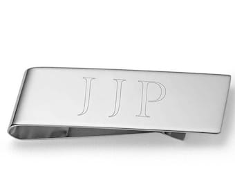 Personalized Initials Money Clip in 925 Sterling Silver, Custom Engraved Money Clip , Best Father's Gift, Custom Made Money Clips