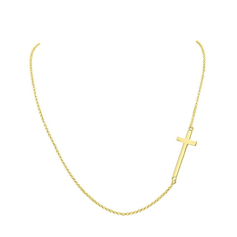 14k solid yellow gold Sideways 34 Cross necklace off centered pendant necklace NICKEL FREE