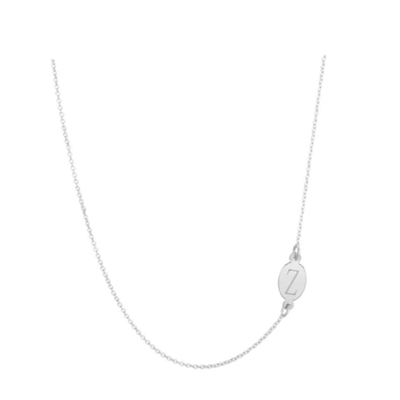14k solid white gold oval disc side Intial necklace 12 personalize oval necklace any letter pendanton