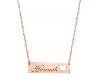Engravable Rose Gold Bar Necklace 1.25 inch, Name Bar With Heart in 18k Rose Gold Plated 925 Sterling Silver