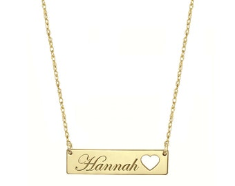 Engravable Gold Bar Necklace 1.25 inch, Name Bar With Heart in 18k Yellow Gold Plated 925 Sterling Silver
