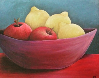 Bowl of Fruit, Original Acrylic Painting on Canvas