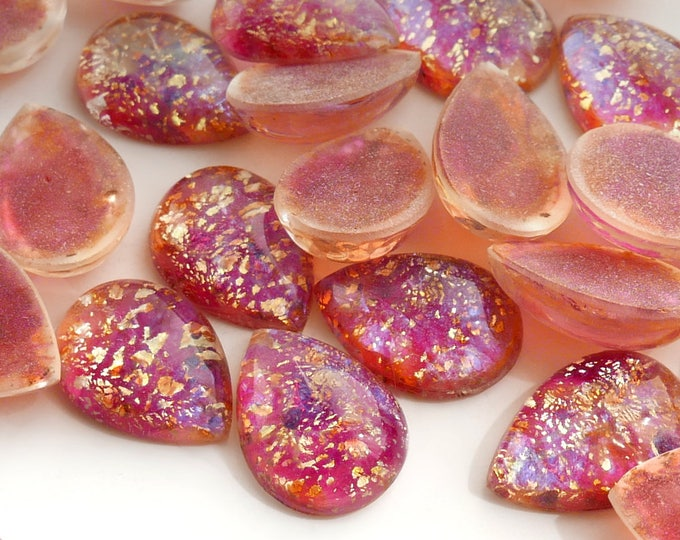 with gold tone leaf Rose 18x13 mm peartear drop B29 4 Vintage Cherry Brand  Fire Opal Glass Cabochon