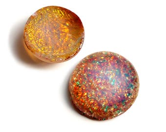 Vintage Harlequin Opal Cabochon, Fire Opal, glass - 18mm - round - 2 pcs - B62