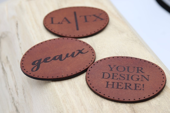 Oval Leather Patch | Monogram Leather Patch | Backpack Leather Patch | Custom Design Leather Patch