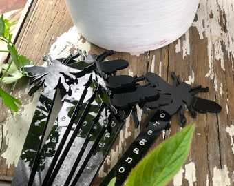 Herb Stakes | Black Acrylic Herb Stakes | Garden Herb Markers | Set of 10