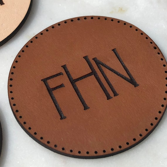 Circle Leather Patch | Monogram Leather Patch | Backpack Leather Patch | Custom Design Leather Patch