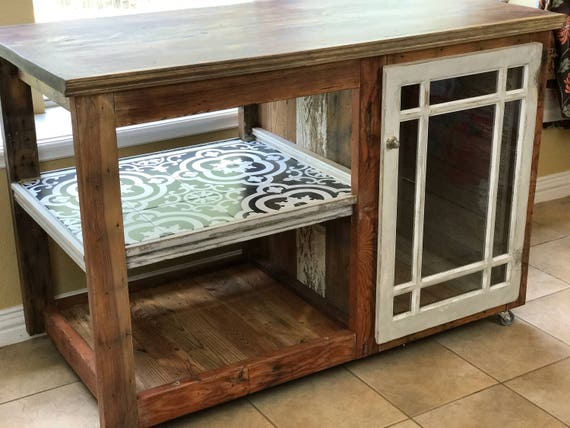 Southern Long Leaf Pine Farmhouse Buffet | Reclaimed Wood Kitchen Island | Serving Cart | Farmhouse Style | Local Pickup