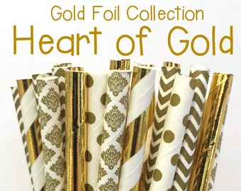 2.85 US Shipping -Gold Foil Paper Straws -  Gold Straws- Cake Pop Sticks - Drinking Straws - New Years Eve Straw