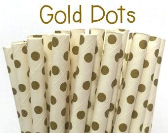 2.85 US Shipping -Gold Mini Polka Dot Paper Straws  -  Gold Straws- Cake Pop Sticks