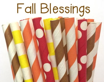 2.85 US Shipping -Fall Paper Straws - Thanksgiving Paper Straws - Cake Pop Sticks - Drinking Straws