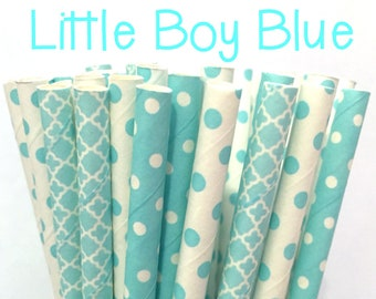 2.85 US Shipping -Light Blue Paper Straws - Baby Blue paper straws - Cake Pop Sticks - Drinking Straws