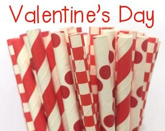 2.85 US Shipping -Valentine's Paper Straws- Red Paper Straws - Red Cake Pop Sticks - Drinking Straws
