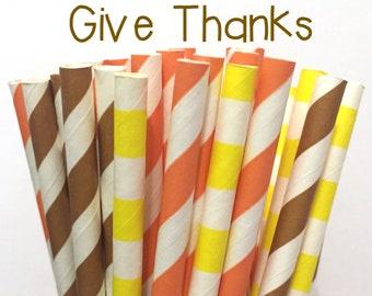 2.85 US Shipping -Fall Paper Straws- Thanksgiving Paper Straws - Cake Pop Sticks - Drinking Straws