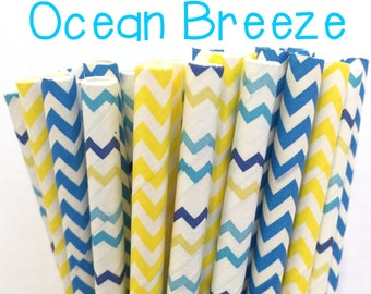 2.85 US Shipping -Blue and yellow Paper Straws - Chevron Paper Straws - Straws - Cake Pop Sticks - Drinking Straws