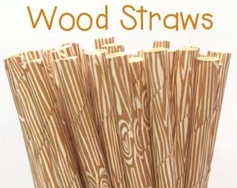 Wood Grain Paper Straws - Wood Grain Straws - Wood Grain Cake Pop Sticks - Drinking Straws