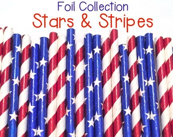 4th of July Military Party Supplies. Red White and Blue Party Decor 1 Set of 10 Straws Patriotic Party Straws.