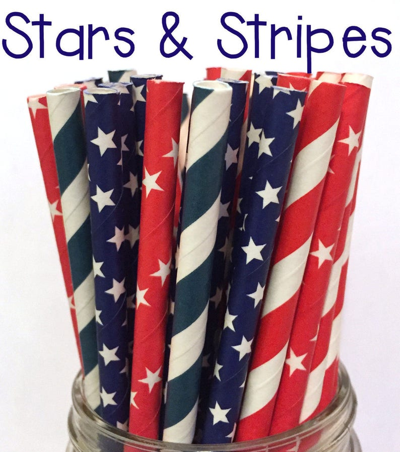 4th of July Paper Straws Cake Pop Sticks White and Blue Foil Paper Straws 3.00 US Shipping -Red Drinking Straws