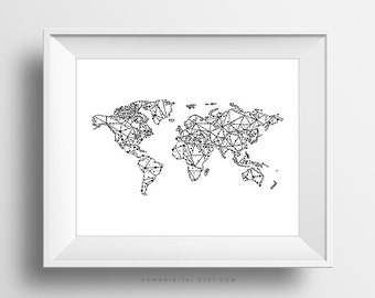 World Map Print World Map Poster Black And White Large Etsy - Map of the world poster black and white