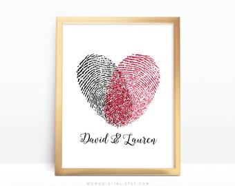 Couple Heart Fingerprints, Custom Print, Custom Wedding Print, Custom Couple Poster, Heart Fingerprints, Love Fingerprints, Art Print