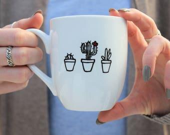 cactus mug, succulent mug, black and white mug, minimalist mug, mug, unique coffee mug, cute coffee mug, coffee mugs,hand painted mug, mugs