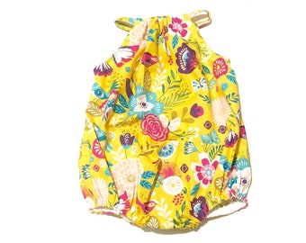 Yellow Floral Bubble Romper, Baby Romper,Fall, Bohemian, Photo Shoot, Girls, Newborn, Baby Clothes, Clothing