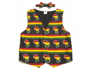 b2b0797bf1ae Boys Kente Vest and Bow Tie Set, Black History Month, African Print Vest,  African Clothing, Black History Month, Boys Bow Tie