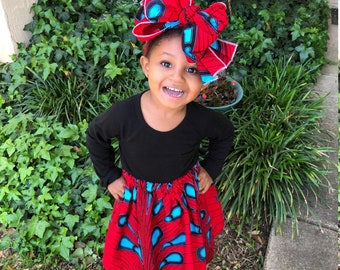 Red Blue Girls African Skirt, Girls Headwrap, Baby Skirt, African Head Wrap, African Baby Clothes, Hair Wrap, Hair Accessory, Girls Clothing