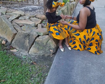 Yellow Blue African Drops Mommy and Me Ankara Skirts, Mothers Day, Head Wraps, Ladies Skirt, Girls Skirt, African Clothing, Girls Clothing