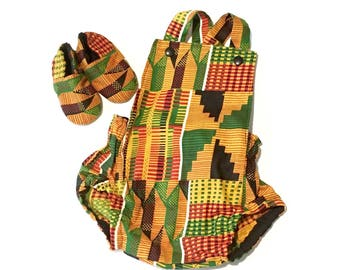 62044db2937b African Kente Baby Romper Set with Baby Crib Shoes