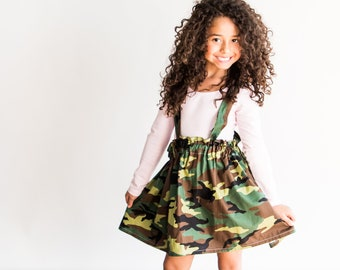 0dbe9df895830 Camouflage Suspender Skirt, Camo Skirt, Girls Skirt, Toddlers, Girls  Clothing