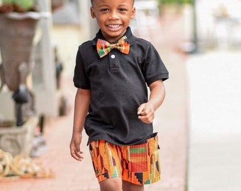 945da038cb85 Orange Kente Shorts Set, Boys Bow Tie, African Print, Orange Shorts, Boys  Shorts,, Birthday Outfit