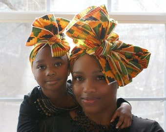 Kente Mommy and Me Headwrap, African Head Wrap, Mothers Day, Head Tie, African Clothing, African Print