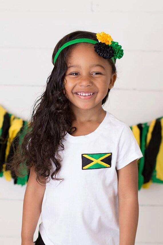 White Jamaican Flag T-Shirt Girls Jamaica Flag Tshirt  Etsy-2479