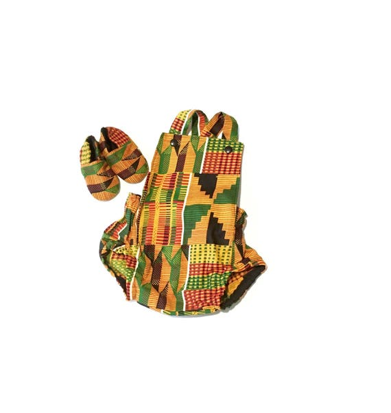 9d233c06fb04 African Kente Baby Romper Set with Baby Crib Shoes Gift