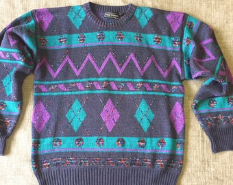 Vintage 1980s 1990s Blue Purple Baggy ugly eighties sweater Size Large L  Extra Large XL f10206f37