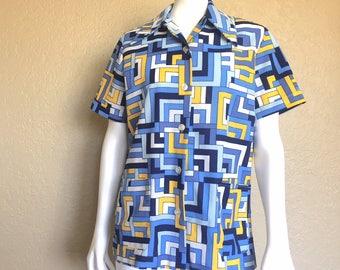 Womens Mid Century Op Art Blue Yellow White Op Art Button Down Blouse Short Sleeved