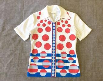 Mid Century Op Art Red White Blue Circle Op Art Button Down Blouse Short Sleeved