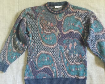 Vintage 1970s 1980s Paisley Blue Purple Gray Baggy Ugly Sweater size Medium  Large 3e83c1d47
