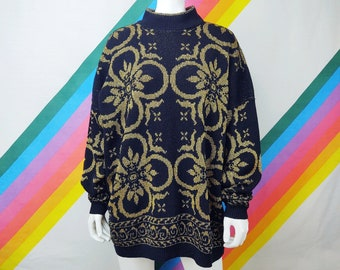 Vintage 1980s Yellow /& Black LECRIVAIN Collared Baggy Pullover Sweater ML BIN D-04