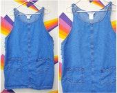 Vintage Denim MATERNITY Jumper Denim Dress 1990s 90s Overall Dress Skirt Overalls Jean Dress Jean Jumper Medium M